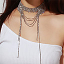ieftine Colier la Modă-Pentru femei Coliere Choker Colier lung, Multistratificat femei Multistratificat Diamante Artificiale Argintiu Coliere Bijuterii Pentru Petrecere Cadou