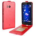 hesapli HTC İçin Kılıflar / Kapaklar-Pouzdro Uyumluluk HTC U11 Life U11 Kart Tutucu Flip Tam Kaplama Kılıf Tek Renk Yumuşak PU Deri için HTC U11 HTC U11 Life HTC U11 plus