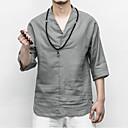 baratos Casacos de Penas e Parkas Masculinas-Homens Camiseta Temática Asiática Sólido Linho Decote V Branco XXXL / Verão