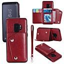 رخيصةأون حافظات / جرابات هواتف جالكسي S-غطاء من أجل Samsung Galaxy S9 / S9 Plus / S8 Plus محفظة / حامل البطاقات / قلب غطاء كامل للجسم لون سادة قاسي جلد أصلي