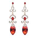 저렴한 귀걸이-여성용 모조 큐빅 드랍 귀걸이 - 지르콘, 모조 다이아몬드 드롭 스테이트먼트, 단 레드 / 블루 / 라이트 브라운 제품 파티 / 작동