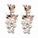 cheap Women's Watches-Drop Earrings - Pearl European, Fashion, Oversized Red / Blue / Champagne For Street Work