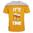 お買い得  ブレスレット-男性用 プリント プラスサイズ Tシャツ ベーシック / 誇張された ラウンドネック レタード / 半袖