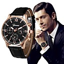 cheap Women's Watches-Men's Dress Watch Chinese Chronograph / Large Dial PU Band Luxury / Vintage Black / Silver / Stainless Steel