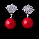 hesapli Bilezikler-Kadın's Kübik Zirconia Vidali Küpeler - Kalp Tatlı, Moda Kırmzı Uyumluluk Düğün / Nişan