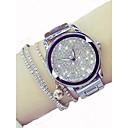 hesapli Kadın Saatleri-Kadın's Elbise Saat Quartz Gümüş / Altın Rengi 30 m Kronograf Parlak Analog Bayan Lüks Işıltılı - Altın Gümüş Bir yıl Pil Ömrü / Paslanmaz Çelik