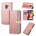billige iPhone-etuier-Etui Til Samsung Galaxy A8 Plus 2018 / A8 2018 Lommebok / Kortholder / Rhinstein Heldekkende etui Sommerfugl / Glimtende Glitter Hard PU Leather til A5(2018) / A3 (2017) / A5 (2017)