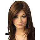hesapli Makyaj ve Tırnak Bakımı-Sentetik Peruklar Düz / Doğal Dalgalar Yan parça / Bantlı Sentetik Saç 18 inç Işıltılı / Balyajlı Saç Kahverengi Peruk Kadın's Orta Bonesiz Kahverengi
