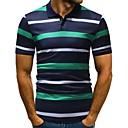 お買い得  メンズシャツ-男性用 ワーク - プリント Polo ビジネス / ベーシック シャツカラー スリム ストライプ / カラーブロック コットン / 半袖