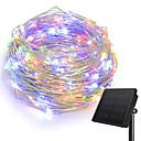 hesapli Fırın Araçları ve Gereçleri-KWB 10m Dizili Işıklar 100 LED'ler 1Set Montaj Braketi Sıcak Beyaz / Beyaz / Mavi Güneş Enerjisi / Yaratıcı / Su Geçirmez Solární napájení 1set