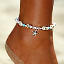 ieftine Brățară Gleznă-Pentru femei Turcoaz Brățară Gleznă gleznă brățară picioare bijuterii Χάντρες Yoga Stea de mare Scoică femei Boem Bikini Modă Brățară Gleznă Bijuterii Argintiu Pentru Cadou Concediu