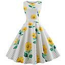 billige Vintage-dronning-Dame I-byen-tøj Vintage Bomuld Tynd Swing Kjole - Blomstret, Trykt mønster Knælang