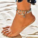 baratos Brincos-Turquesa Camadas Tornezeleira tornozeleira - Formato de Folha, Tartaruga Pingente, Borla, Boêmio Prata Para Feriado Bikini Mulheres