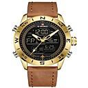 Χαμηλού Κόστους Ανδρικά ρολόγια-NAVIFORCE Ανδρικά Αθλητικό Ρολόι Στρατιωτικό Ρολόι Ψηφιακό ρολόι Ιαπωνικά Γιαπωνέζικο Quartz Γνήσιο δέρμα Μαύρο / Μπλε / Καφέ 30 m Ανθεκτικό στο Νερό Συναγερμός Ημερολόγιο Αναλογικό Ψηφιακό / Φωτίζει
