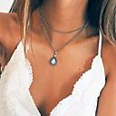 preiswerte Halsketten-Damen Opal Mehrschichtig Vintage Stil Anhängerketten / Charm Halskette - Birne Retro, Modisch Niedlich, Cool Silber 34.5 cm Modische Halsketten Schmuck 1pc Für Party / Abend, Geschenk