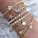 cheap Necklaces-Women's AAA Cubic Zirconia Cuff Bracelet Tennis Bracelet Bracelet Classic Mismatched Heart Star Ladies Basic Sweet Fashion Alloy Bracelet Jewelry Gold / Silver For Going out Bar