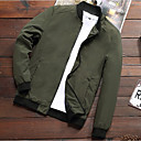 cheap Men's Jackets-Men's Sports Spring Regular Jacket, Solid Colored Stand Long Sleeve Polyester Black / Dark Gray / Army Green XL / XXL / XXXL