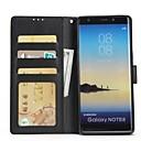 رخيصةأون أقراط-غطاء من أجل Samsung Galaxy Note 8 / Note 5 / Note 4 محفظة / حامل البطاقات / مع حامل غطاء كامل للجسم لون سادة قاسي جلد PU