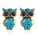 cheap Brooches-Women's 3D Stud Earrings - Rhinestone Owl Classic, Sweet Gold For Daily