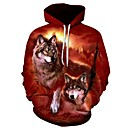 cheap Makeup & Nail Care-Men's Plus Size Sports Long Sleeve Loose Hoodie - 3D Wolf, Print Hooded Wine 4XL / Fall / Winter