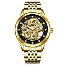 ieftine Ceasuri Bărbați-Tevise Bărbați Ceas de Mână Japoneză Mecanism automat 30 m Rezistent la Apă Gravură scobită Iluminat Oțel inoxidabil Bandă Analog Lux Modă Argint / Auriu - Auriu Argintiu