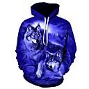 رخيصةأون كنزات هودي رجالي-رجالي قياس كبير فضفاض بنطلون - 3D ذئب, طباعة أزرق / مع قبعة / الرياضة / كم طويل / الخريف / الشتاء