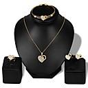 ieftine Brățări-Pentru femei Clasic Set bijuterii - Ștras, Placat Cu Aur Roz Inimă Stilat, Clasic Include Brățări Bantă Cercei Stud Coliere cu Pandativ Auriu Pentru Zilnic Serată / Inel deschis / Σκουλαρίκια