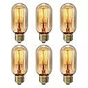 preiswerte Weißglühende Glühbirnen-6pcs 40 W E26 / E27 T45 Warmes Weiß 2200-2800 k Retro / Abblendbar / Dekorativ Glühbirne Vintage Edison Glühbirne 220-240 V