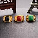 Χαμηλού Κόστους Αξεσουάρ για GoPro-Ανδρικά Onyx 3D Δαχτυλίδι Δακτυλίδι με σφραγίδα Υπερβολή Μοδάτο Δαχτυλίδι Κοσμήματα Μαύρο / Κόκκινο / Πράσινο Για Γάμου Καθημερινά Μασκάρεμα Πάρτι Αρραβώνων Χοροεσπερίδα Υπόσχεση Ρυθμιζόμενο