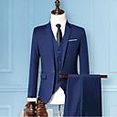 cheap Men's Bow Ties-Men's Party Basic Plus Size Regular Suits, Solid Colored Notch Lapel Long Sleeve Polyester Gray / Wine / Royal Blue XXL / XXXL / XXXXL / Slim