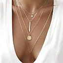 cheap Necklaces-Women's Chain Necklace Y Necklace Layered Necklace Coin Bar Star Ladies Bohemian European Fashion Alloy Gold 40 cm Necklace Jewelry 1pc For Party / Evening Gift / Long Necklace