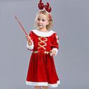 ieftine Ustensile & Gadget-uri de Copt-Costume Cosplay Santa Clothe Pentru copii Fete Crăciun Crăciun An Nou Festival / Sărbătoare Material Din Fâș Terilenă Roșu-aprins Costume de Carnaval Vacanță