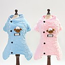 voordelige Pet Christmas Costumes-Honden Katten Jumpsuits Hondenkleding Geruit Toile Blauw Roze Katoen Kostuum Voor Winter Unisex Dieren Zoet