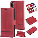 رخيصةأون LG أغطية / كفرات-غطاء من أجل Apple iPhone XS محفظة / حامل البطاقات / قلب غطاء خلفي لون سادة قاسي جلد PU