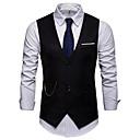 رخيصةأون سترات و بدلات الرجال-رجالي بني أبيض أسود L XL XXL Vest الأعمال التجارية / أساسي لون سادة شق الصدر للذروة / بدون كم / عمل / نصف رسمي