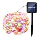 ieftine Fâșii Becurie LED-1pc 10m 100ld solare alimentat cu led-uri șir lumini solare fairy de iluminat impermeabil luminos cald / alb / colorat