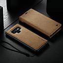 رخيصةأون Smart Plug-غطاء من أجل Samsung Galaxy Note 9 محفظة / حامل البطاقات / مع حامل غطاء كامل للجسم لون سادة قاسي جلد PU