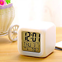 cheap Bathroom Gadgets-7 Colors LED Changing Digital Alarm Clock Desk Thermometer Night Glowing Cube LCD Clock