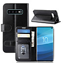 cheap Galaxy S Series Cases / Covers-Case For Samsung Galaxy Galaxy S10 / Galaxy S10 E Wallet / Card Holder / with Stand Full Body Cases Solid Colored Hard PU Leather for S9 / S9 Plus / Galaxy S10