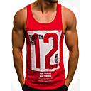 billige T-skjorter og singleter til herrer-Bomull Singleter Herre - Fargeblokk / Bokstaver, Trykt mønster Hvit L