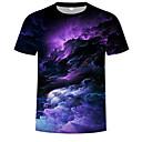 billige T-shirts og undertrøjer til herrer-Rund hals Herre - Galakse / 3D Trykt mønster Basale / Boheme T-shirt Regnbue XXXXL / Kortærmet