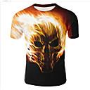 billige Hættetrøjer og sweatshirts til herrer-Rund hals Herre - 3D Trykt mønster Plusstørrelser T-shirt Sort XXL