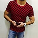 رخيصةأون قمصان رجالي-رجالي تيشرت مقاس أوروبي / أمريكي رقبة دائرية طباعة شيك أبيض XXXL