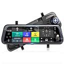 رخيصةأون جهاز فيديو DVR للسيارة-كامل الشاشة تدفق وسائل الإعلام مرآة الرؤية الخلفية سيارة دفر 140 درجة زاوية واسعة 10 بوصة اندفاعة كام مع واي فاي / GPS / ليلة الرؤية سيارة مسجل