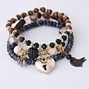 ieftine Brățări-3pcs Pentru femei Brățări cu Talismane Brățări cu Mărgele Brățară Multistratificat Inimă Ciucure Boem European Modă Reșină Bijuterii brățară Maro / Rosu / Albastru Deschis Pentru Petrecere Cadou