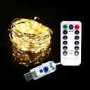 ieftine Becuri LED Încastrate-5m Fâșii de Iluminat 50 LED-uri 1 13 Comenzi de la distanță Alb Cald / RGB / Alb Rezistent la apă / Solar / Model nou Alimentat USB 1set