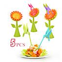 رخيصةأون أطباق-بلاستيك كاجوال شوكة الفاكهة, جودة عالية 5pcs