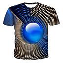 رخيصةأون أساور-رجالي قياس كبير تيشرت, هندسي / 3D رقبة دائرية / كم قصير