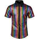 رخيصةأون قمصان رجالي-رجالي روك / بانغك & قوطي مقاس أوروبي / أمريكي - قطن قميص, لون سادة / هندسي / كم قصير