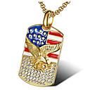 رخيصةأون القلائد-رجالي مكعب زركونيا قلائد الحلي هندسي عصفور موضة الصلب التيتانيوم ذهبي ذهبي روزي 56 cm قلادة مجوهرات 1PC من أجل هدية مناسب للبس اليومي